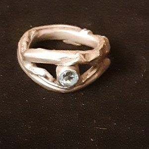 Artists Piece Sterling Silver with Blue Gem Ring 8